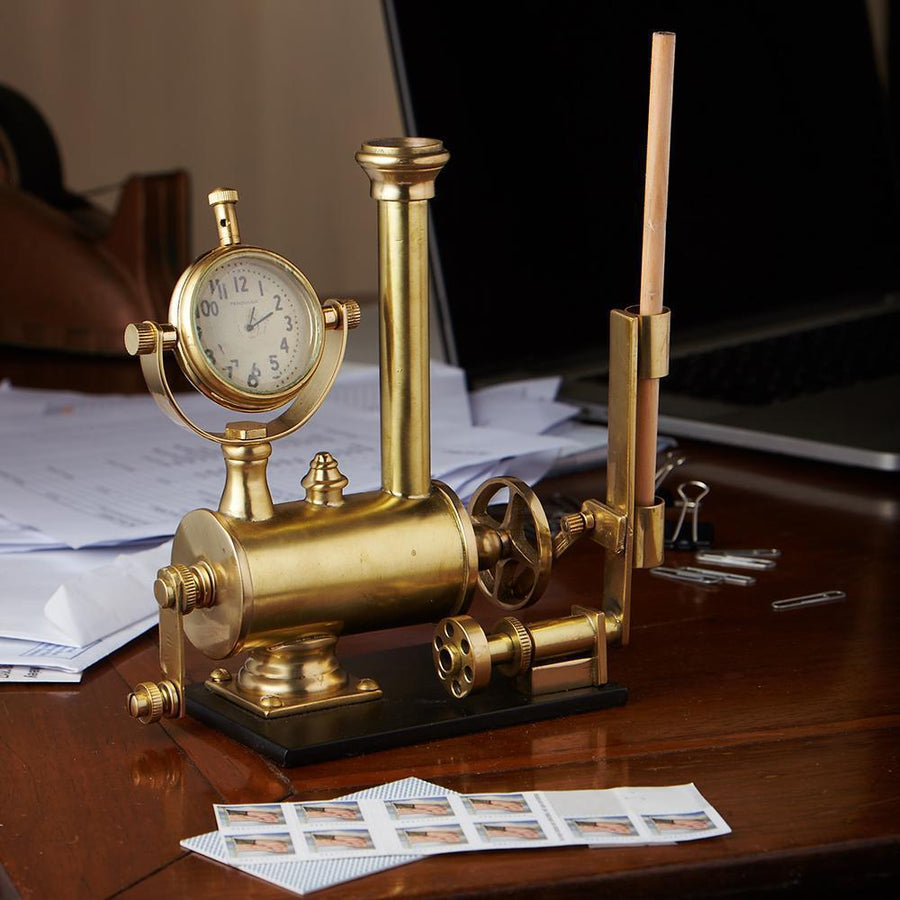 Steampunk Brass Archimedes Desk Set - Solid Brass - Desk Clock - Pencil Holder - Rustic Deco Incorporated