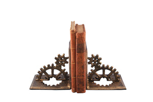 Steampunk Cast Iron Gear Bookends  - 2 Sprocket - Metal - Pair - Rustic Deco Incorporated