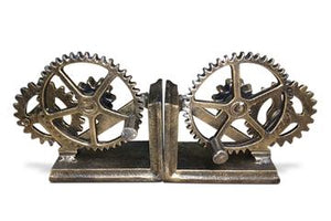 Steampunk Cast Iron Gear Bookends - Metal Bookends Rustic Deco