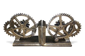 Steampunk Gears Sprocket Bookends - Metal Cogs Cast Iron - Pair - Rustic Deco Incorporated