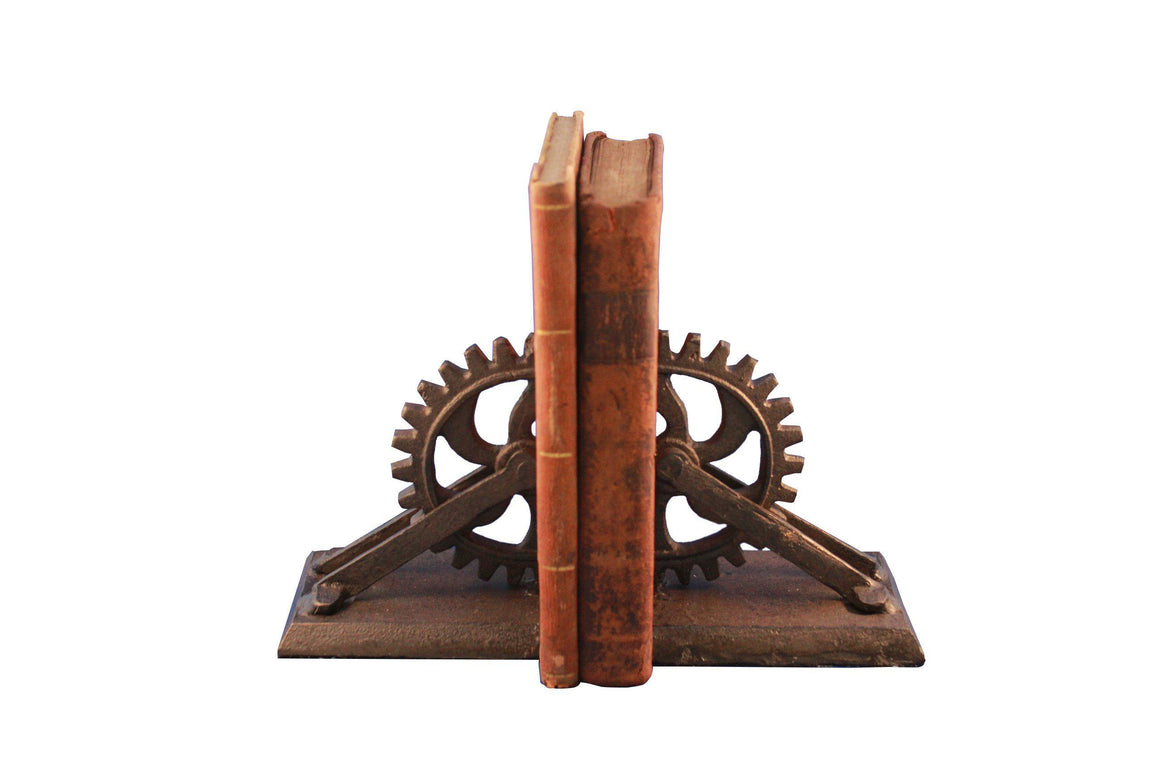 Steampunk Gear & Bracket Cast Iron Bookends - Metal - Pair Bookends Rustic Deco