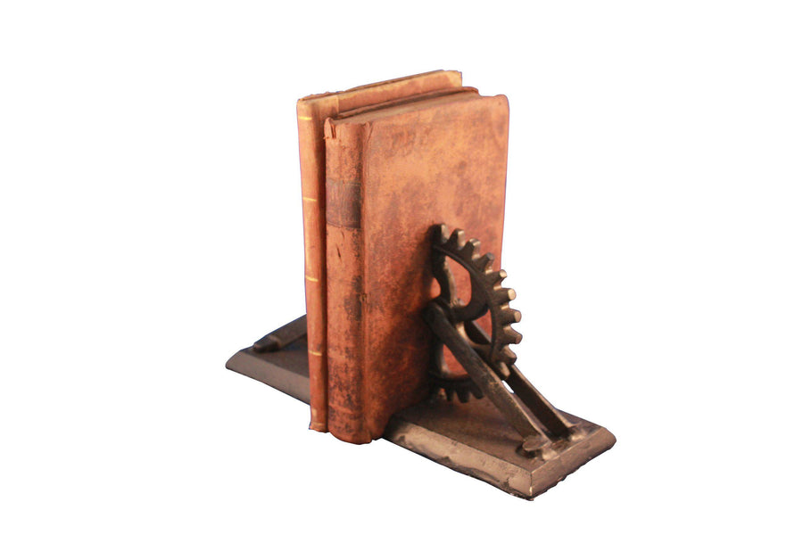 Steampunk Gear & Bracket Cast Iron Bookends - Metal - Pair - Rustic Deco Incorporated