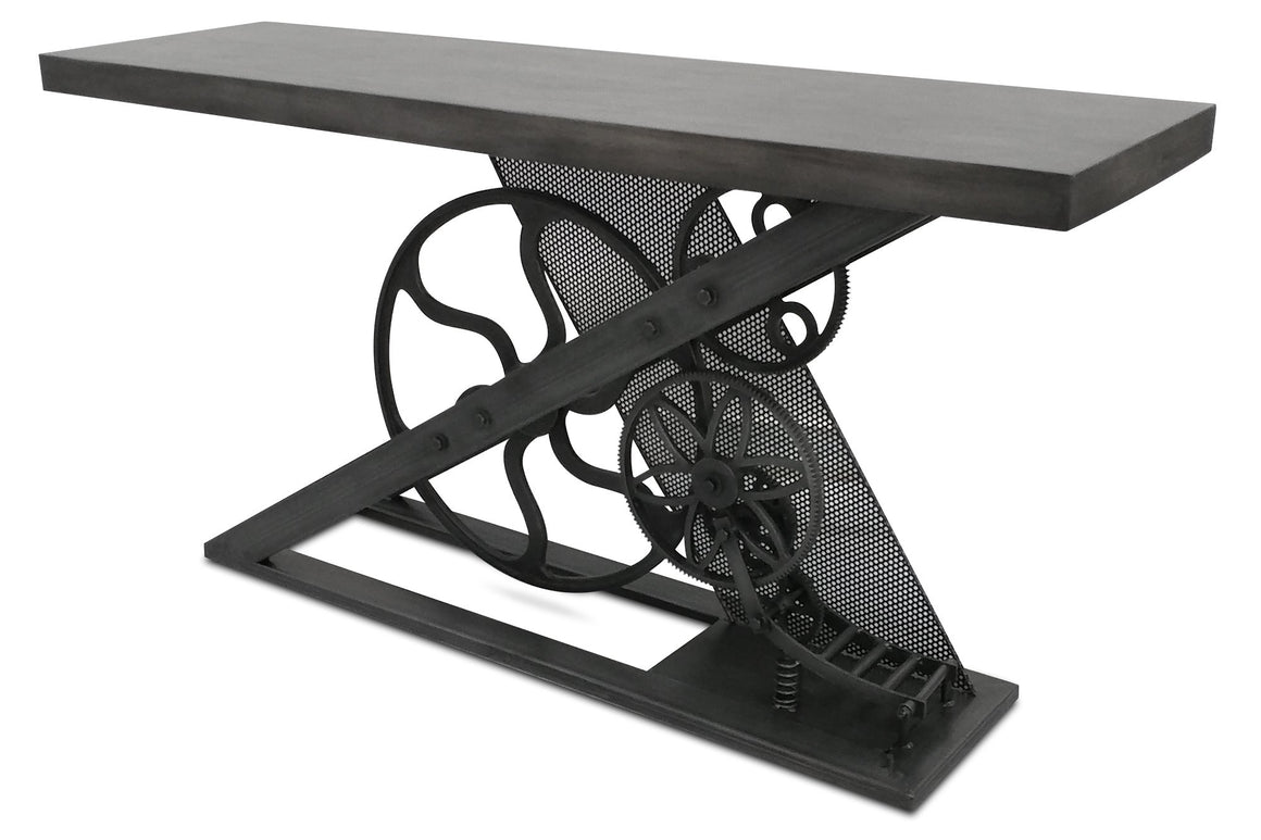 Steampunk Industrial Console or Sofa Table - Hardwood Top - Gears - Rustic Deco Incorporated