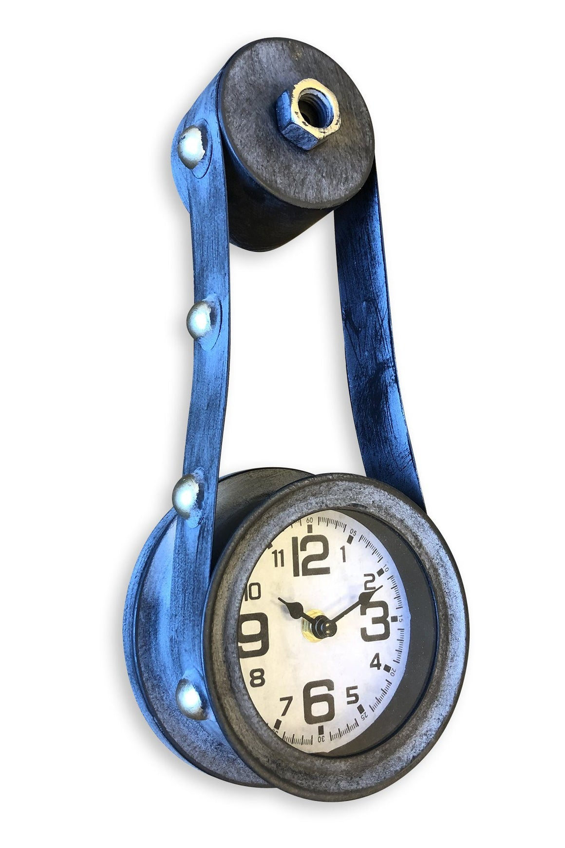 Steampunk Gear Belt Drive Wall Clock - Distress Metal-Rustic Deco Incorporated