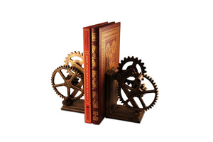 Steampunk Gears Sprocket Bookends - Metal Cogs Cast Iron - Pair Bookends Rustic Deco