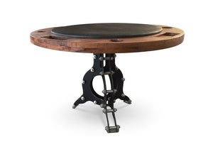 "Industrial Poker Game Table Steel Base - 48"" Solid Wood Top - Rustic Deco Incorporated"
