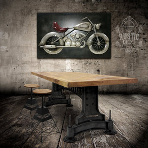 Steampunk Industrial Metal Adjustable Table Base - Dining to Counter Height DIY Rustic Deco