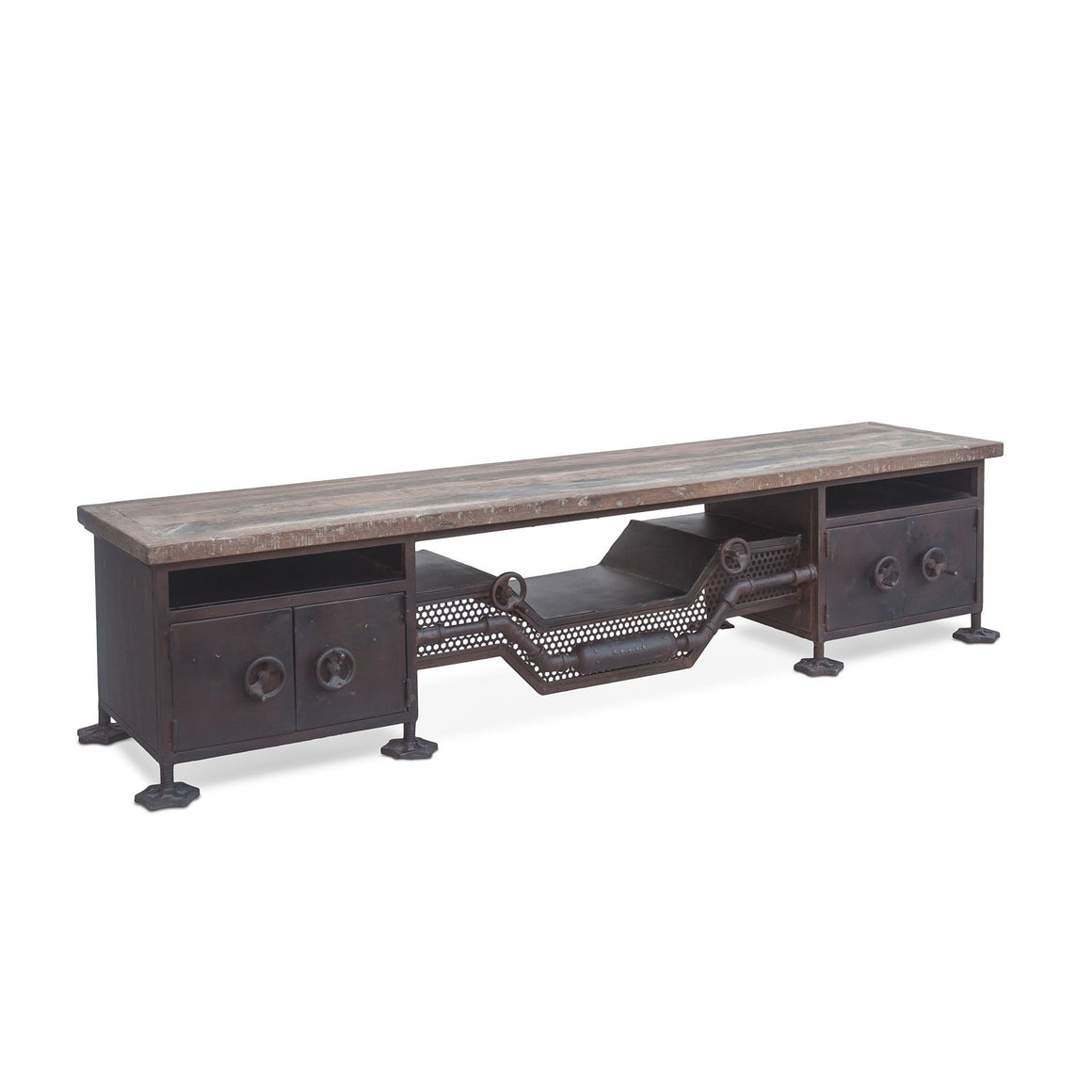"Steampunk Low 74"" Sideboard - Rustic Deco Incorporated"