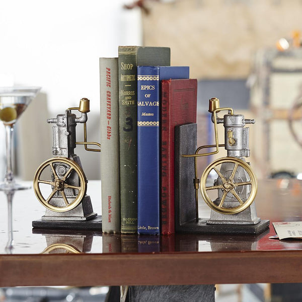 Vertical Steam Engine Bookends