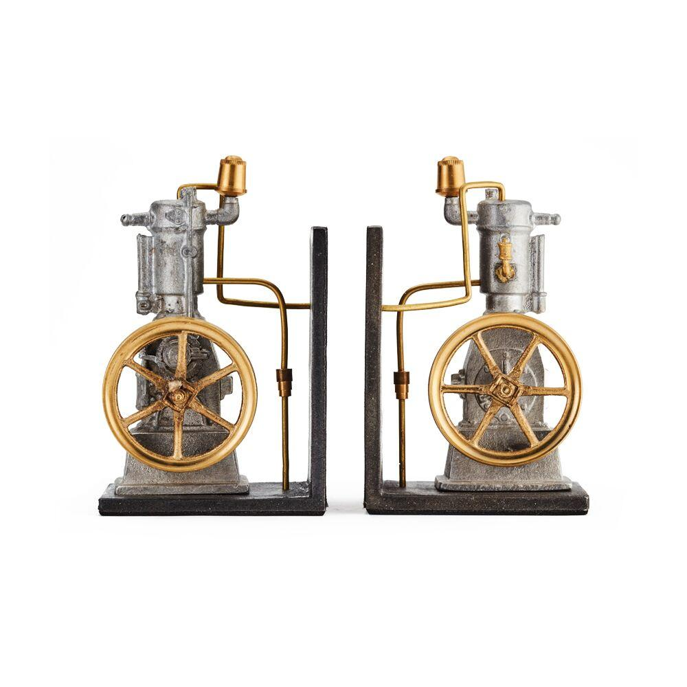 Vertical Steam Engine Bookends - Cast Metal - Solid Brass Fittings - Rustic Deco Incorporated