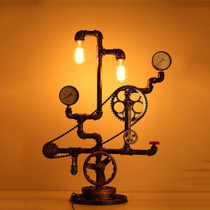 "Steampunk Industrial Table Lamp - Gears - Chain - Gauges 34"" Tall - Rustic Deco Incorporated"