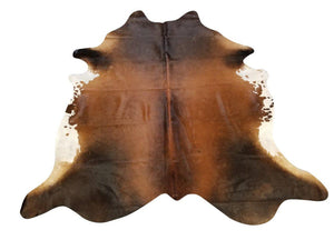 Tan And Black Genuine Brazilian Quality Cow Hide Area Rug Wall Hanging 6x8' - Rustic Deco Incorporated