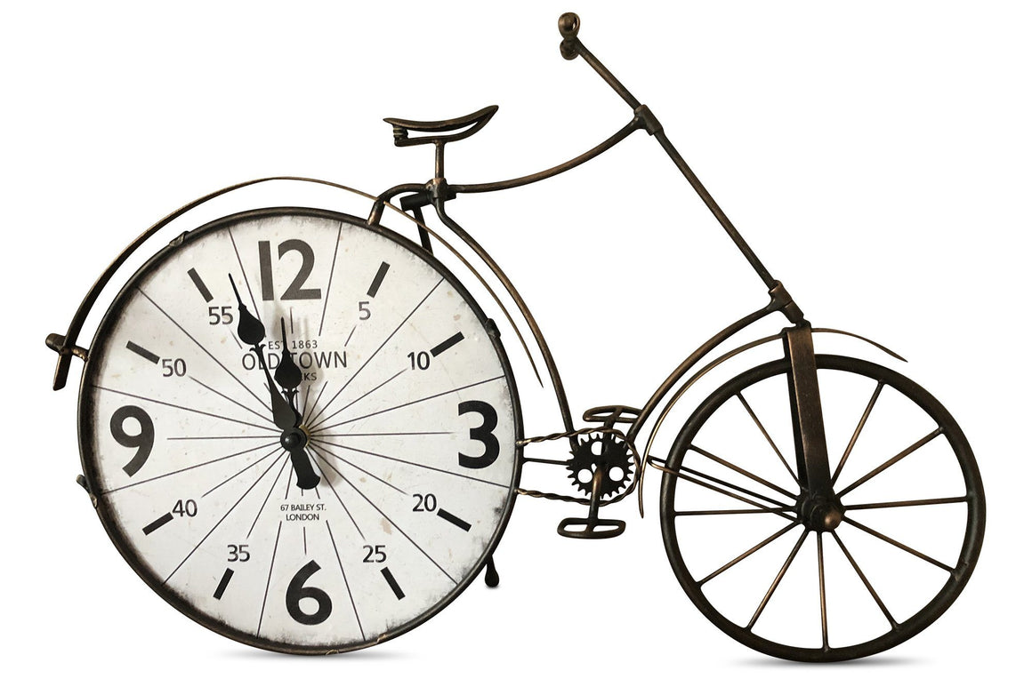 High Wheeler Bicycle Metal Desk Clock - Metal Shelf Art - Rustic Deco Incorporated