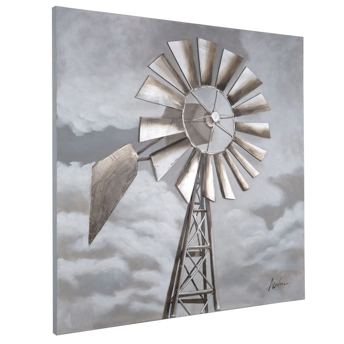 "Tornado Alley Windmill - Large 3D Wall Art - Hand-Painted - 48"" - Rustic Deco Incorporated"