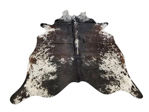 Tri-Color Black White Brown Speck Brazilian Cowhide Rug Wall Hanging XL 6x8'-Rustic Deco Incorporated