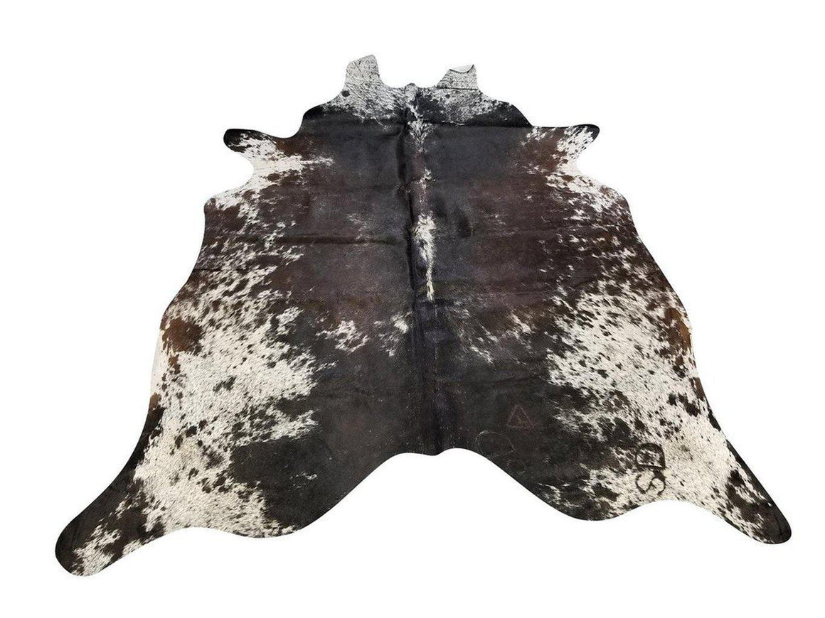 Tri-Color Black White Brown Speck Brazilian Cowhide Rug Wall Hanging XL 6x8' - Rustic Deco Incorporated