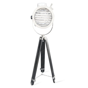 "Vintage Tripod Spotlight Floor Lamp - Chrome Finish - Aviation Nautical 22""-Rustic Deco Incorporated"