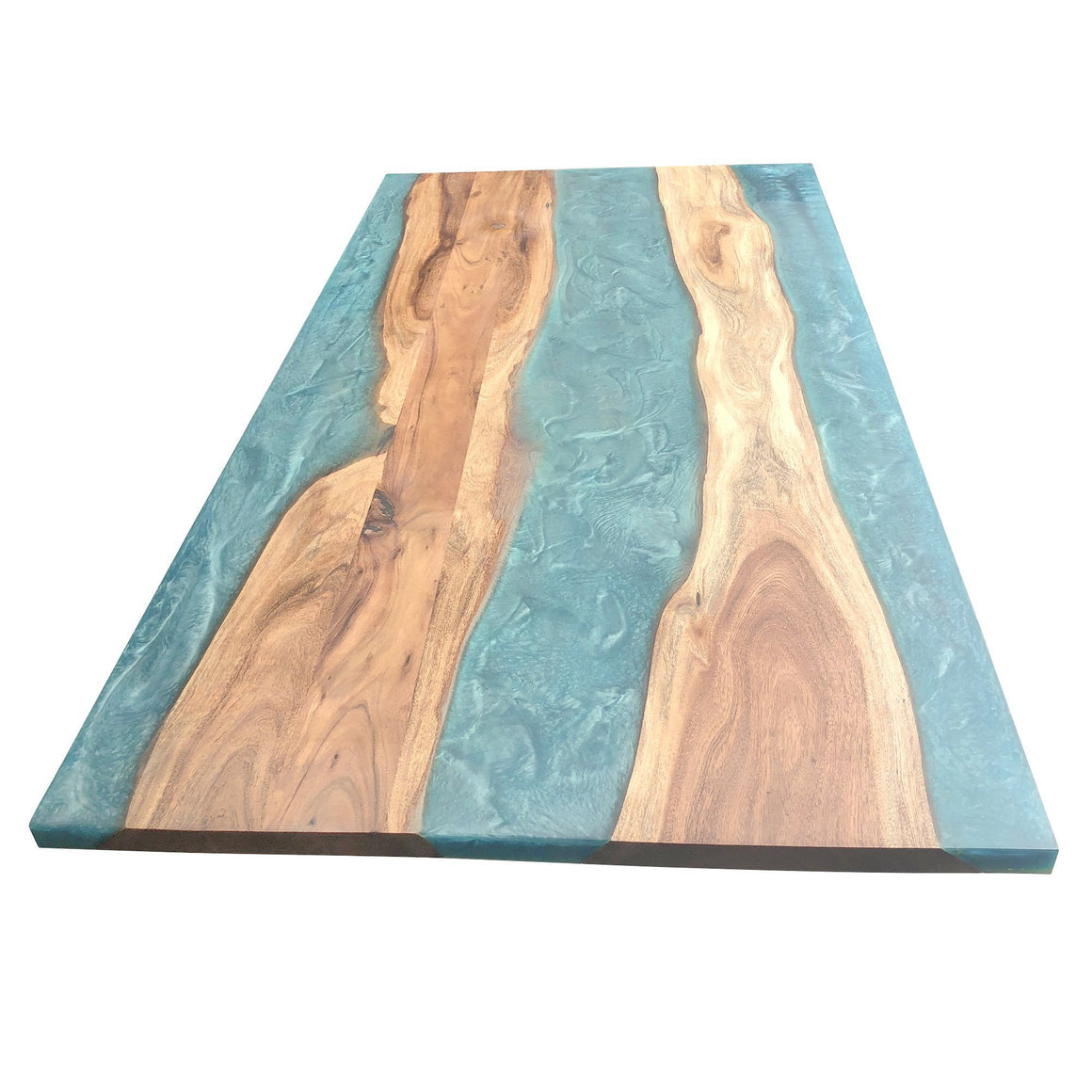 "Turquoise Epoxy Dining Table 71"" DIY Rustic Deco Incorporated"