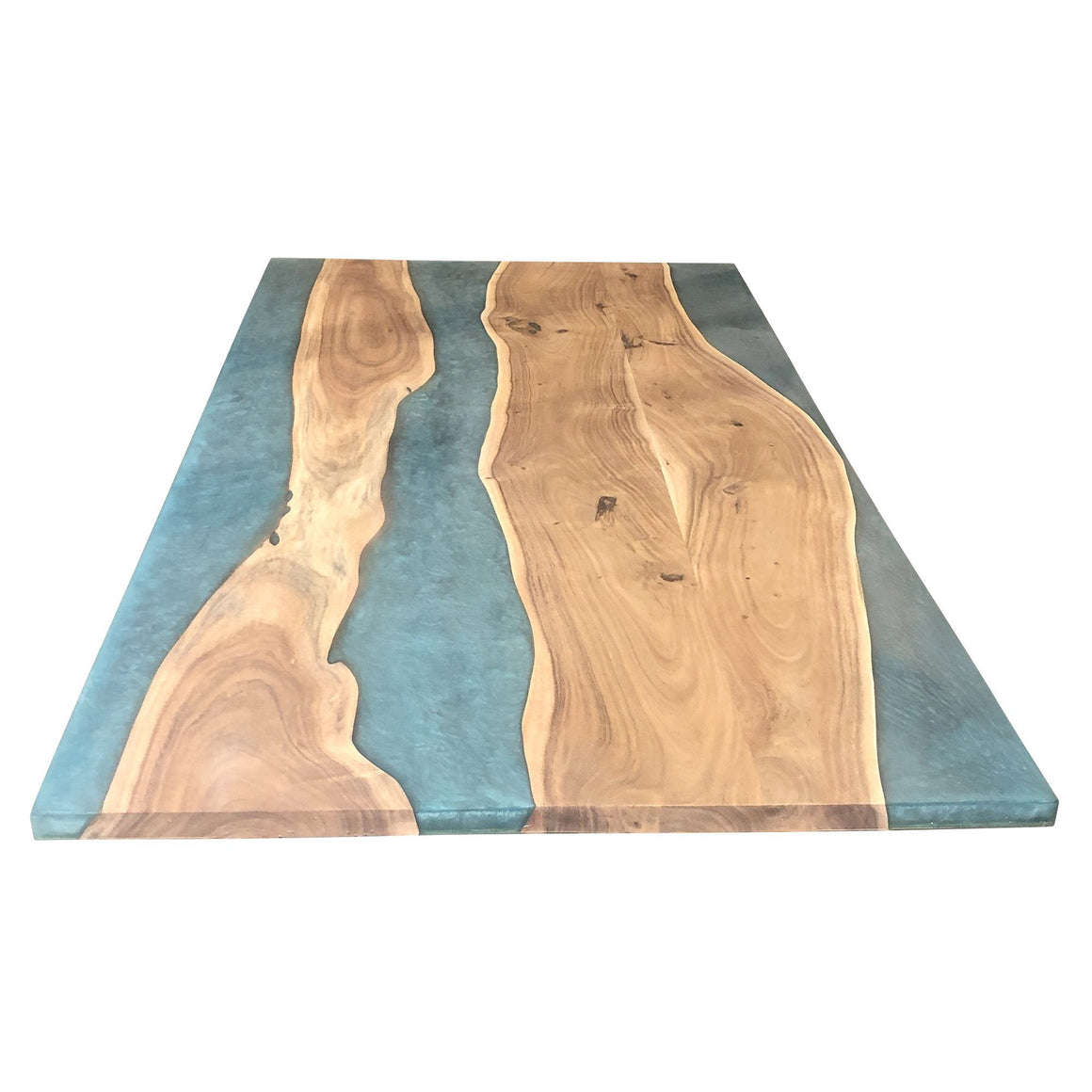 "Turquoise Epoxy Dining Table 79"" DIY Rustic Deco Incorporated"
