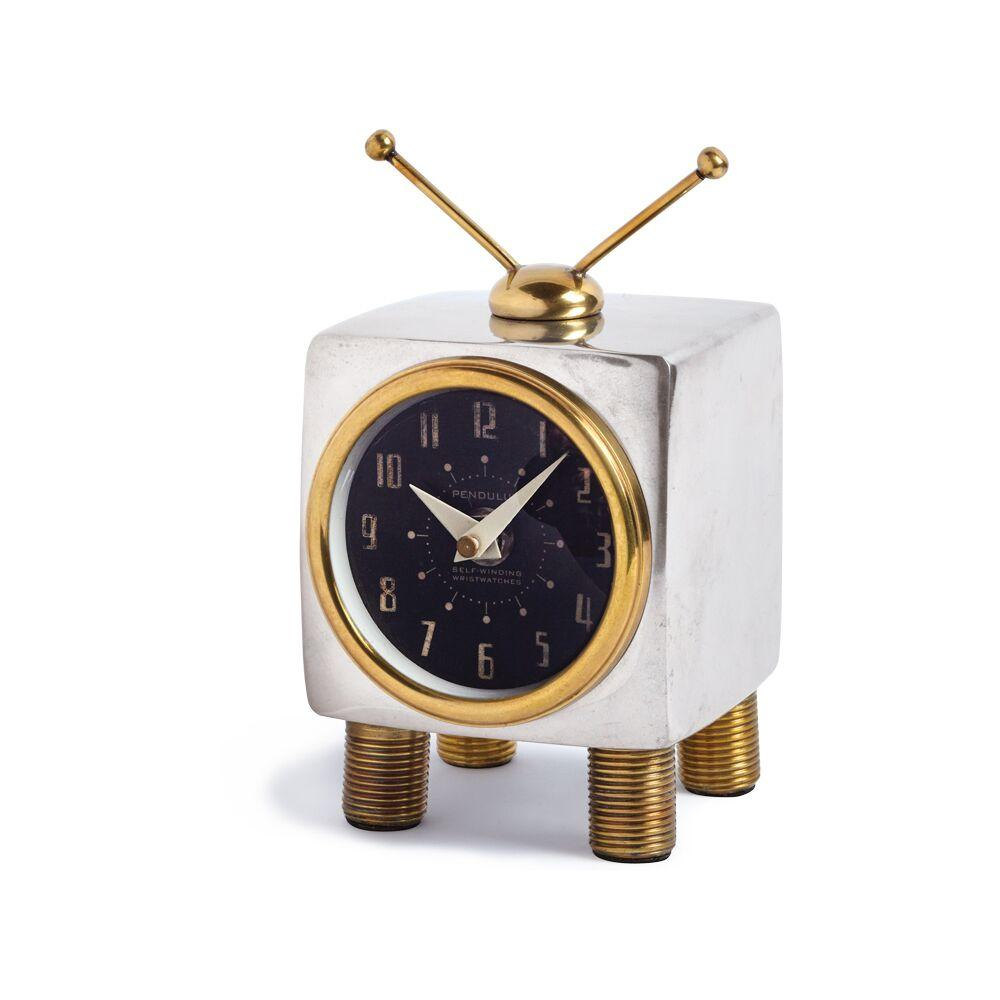 TV Table Clock - 1950s - Vintage Industrial - Polished Aluminum - Brass - Machine Age Clock Pendulux