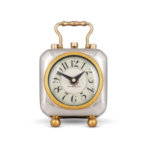 Tyler Table Clock - Historic England - Nickel - Brass - Rustic Deco Incorporated