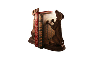 Unique Bird Dog Metal Bookends Sitting Sculptured Figurine-Rustic Deco Incorporated