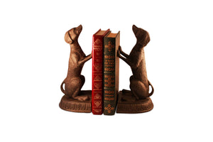 Unique Bird Dog Metal Bookends Sitting Sculptured Figurine - Rustic Deco Incorporated