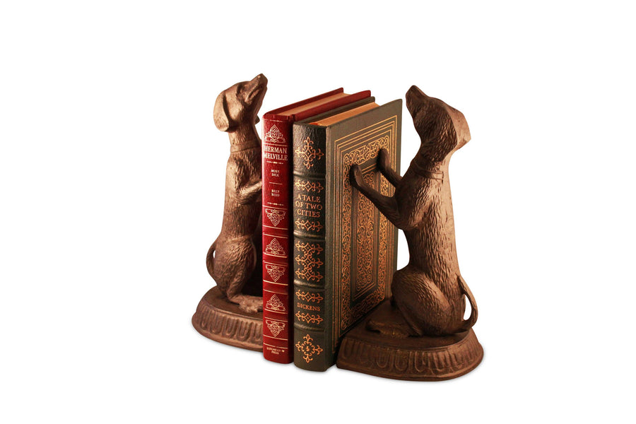 Unique Bird Dog Metal Bookends Sitting Sculptured Figurine Bookends Rustic Deco
