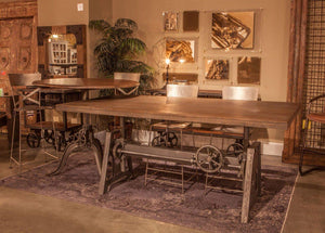 Industrial Adjustable Crank Pub Dining Table - Iron Base Weathered Gray Top - Rustic Deco Incorporated
