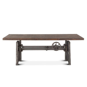 "Urban Industrial Adjustable Crank Dining Or Bar Table 84"" - Weathered Gray Top - Machine Age Dining Table HT&D"