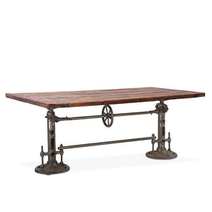 "Urban Industrial Dining Or Bar Table 82"" Adjustable Crank - Reclaimed Wood Top - Rustic Deco Incorporated"