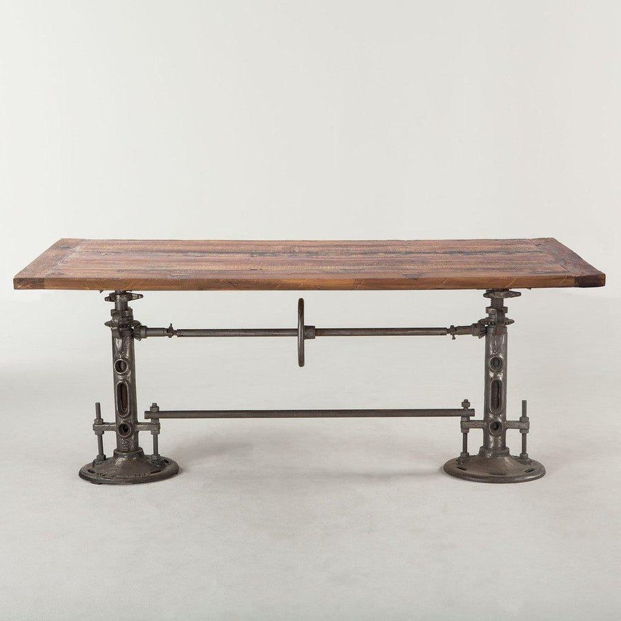 "Urban Industrial Dining Or Bar Table 82"" Adjustable Crank - Machine Age - Rustic Reclaimed Wood Top Dining Table HT&D"