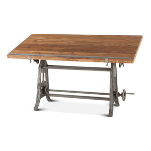 Urban Industrial Drafting Desk - Teak Solid Wood Top - Cast Iron- Adjustable Height Desk HT&D