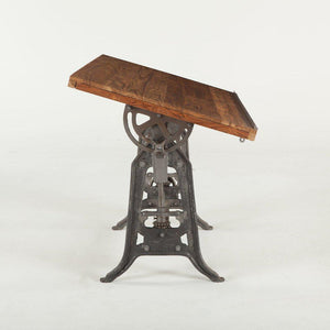 Industrial Drafting Desk - Cast Iron - Adjustable Height Teak Wood Top - Rustic Deco Incorporated