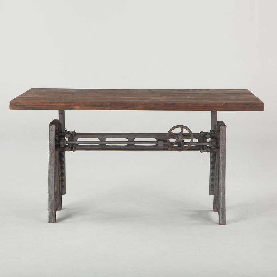 Industrial Office Desk -  Adjustable Crank Cast Iron Base - Hardwood Top - Rustic Deco Incorporated