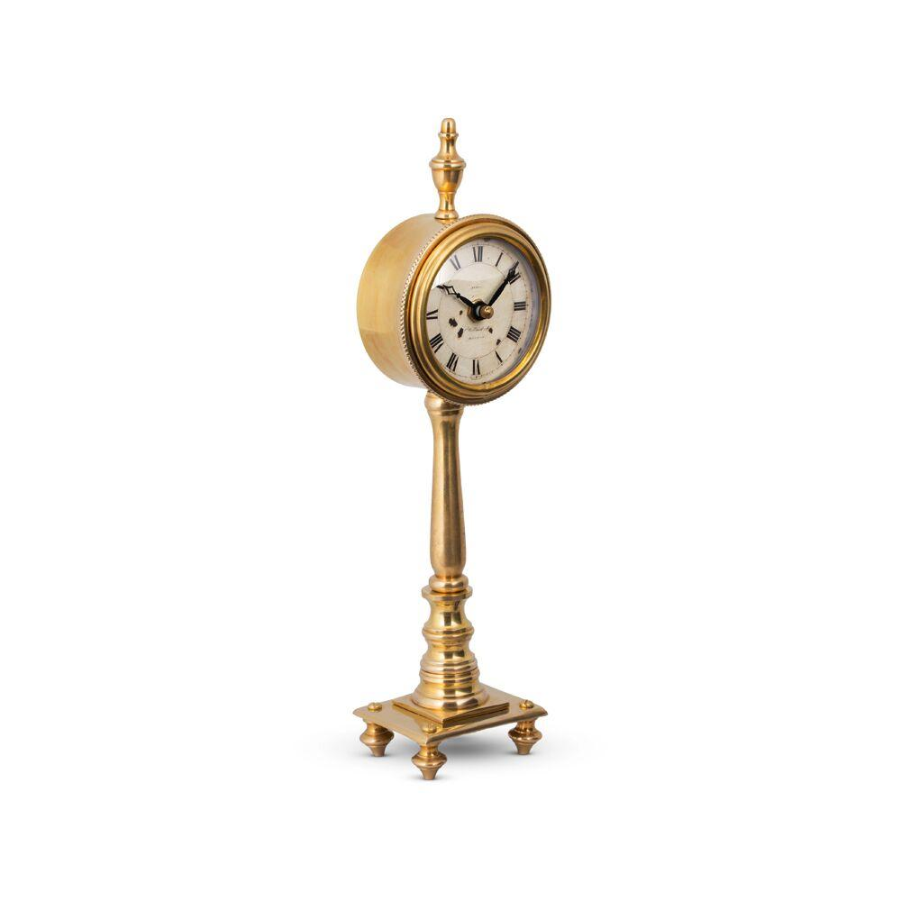 Victoria Table Clock - Solid Brass - Desk Clock - Vintage Industrial - English Mantel Clock Style Clock Pendulux