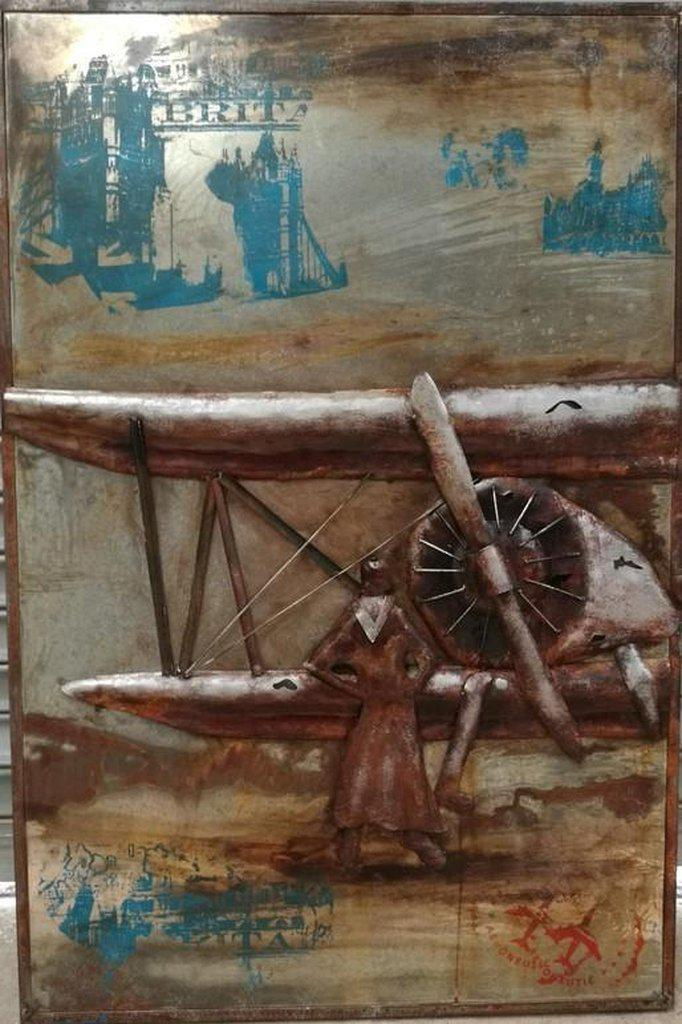 "Vintage Airplane 3D Metal Wall Art - 32"" x 48"" - Rustic Industrial - Aviation Wall Art Rustic Deco"