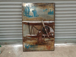 "Vintage Aviation Airplane Rustic 3D Metal Wall Art - 32"" x 48"" - Rustic Deco Incorporated"
