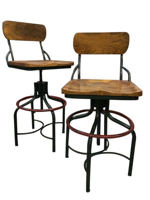 Industrial Machine Age Swivel Barstool - Counter to Bar Height - Rustic Deco Incorporated