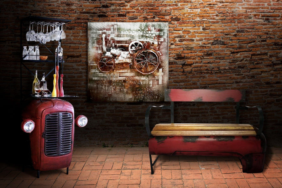 Vintage Industrial Tractor Wine Bar with Lights - Eclectic Red Tractor Bar Bar Rustic Deco