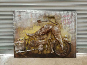 "Vintage Motorcycle Rustic 3D Metal Wall Art - 48"" x 36"" - Rustic Deco Incorporated"