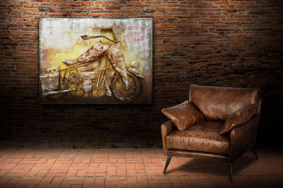 "Vintage Motorcycle 3D Metal Wall Art - 48"" x 36"" - Rustic Industrial Wall Art Rustic Deco"