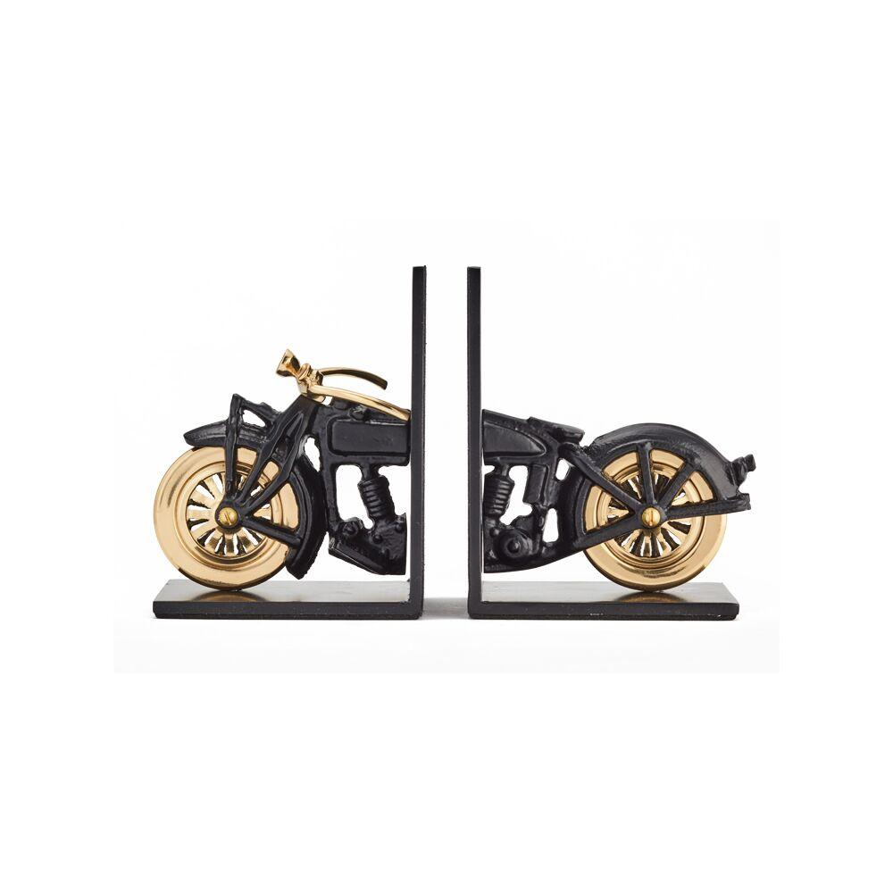 Vintage Motorcycle Bookends - Black - Brass - Iconic - Cast Iron - Rustic Deco Incorporated