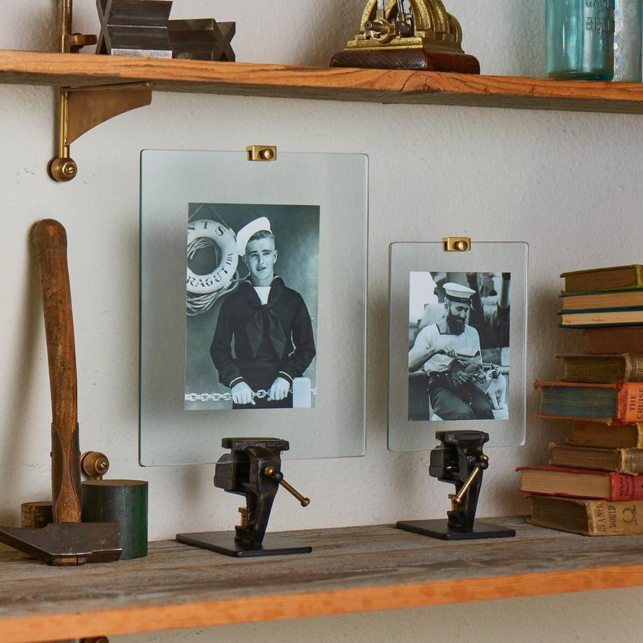 Steelworker's Mechanical Vise Photograph Stand Frame Cast Iron Brass - Rustic Deco Incorporated