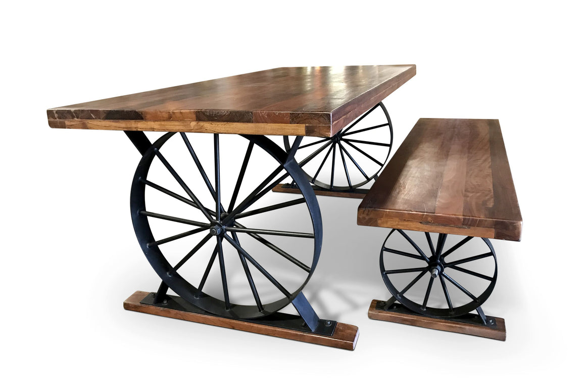 Wagon Wheel Dining Table Bench Set - Hardwood Top - Wrought Iron - Rustic Deco Incorporated