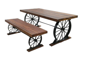 Wagon Wheel Table and Bench Set - Solid Hardwood - Iron Base Wheels - Rustic Deco Incorporated