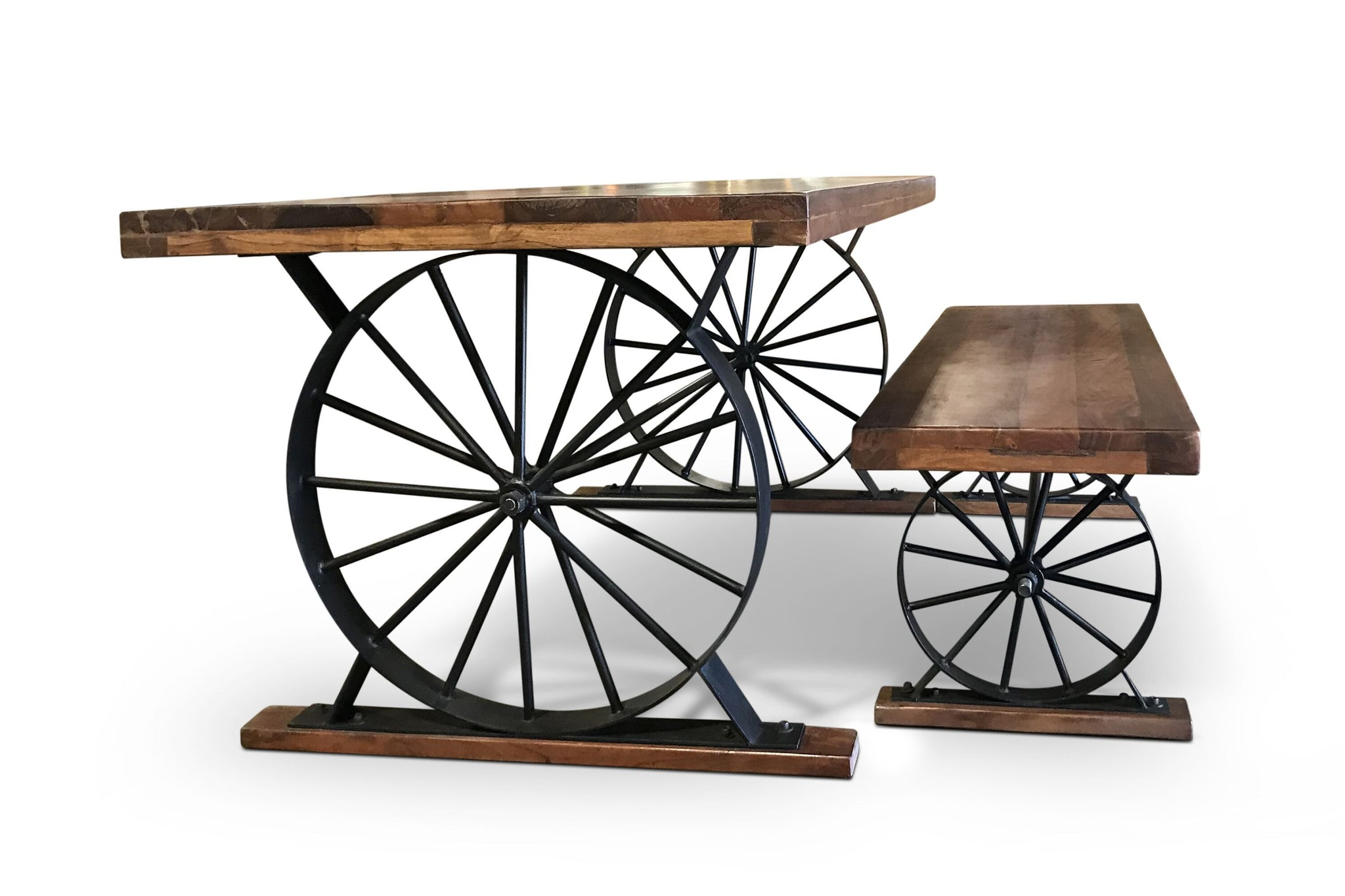 Awe Inspiring Wagon Wheel Table And Bench Set Solid Hardwood Iron Base Unemploymentrelief Wooden Chair Designs For Living Room Unemploymentrelieforg