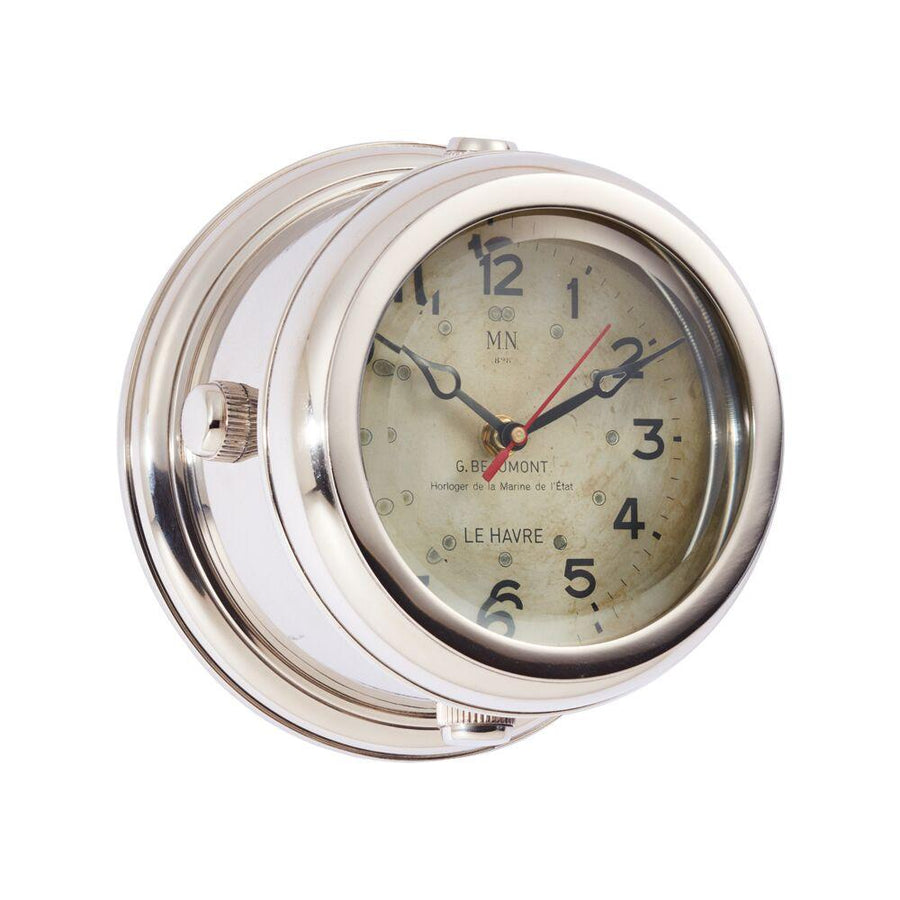 Military Wall Clock - French WWII Submarine - Nickel - Beveled Glass - Nautical-Rustic Deco Incorporated