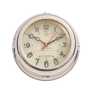Wall Clock - Military Clock - French WWII Submarine - Nautical - Nickel - Beveled Glass Clock Pendulux