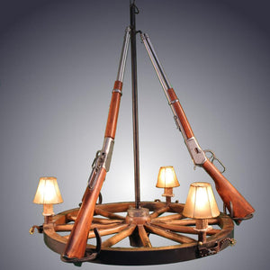 Western 3 Light Wagon Wheel Handcrafted Replica Rifle Chandelier Chandelier Antlerworx